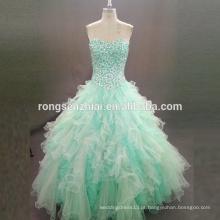 ED Bridal Emerald Green Prom Vestidos Puffy Vestido Strapless Sweetheart Beads Organza Dress