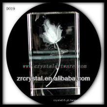 K9 3D Laser Flor Gravado Cristal Retângulo