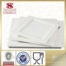 Plaque carrée en céramique blanche pour le restaurant, plaque carrée de porcelaine