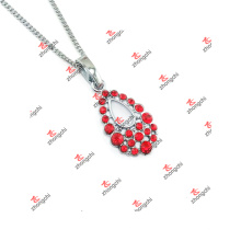 Fashion Alloy Red Crystal Charms Jewelry Chain Necklace (DLK60128)