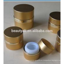 Tarro de la crema cosmética de aluminio del oro de la venta vacía de la venta caliente