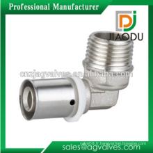 Raccords de pression en laiton coudés nickelés pour tuyaux PEX-AL-PEX