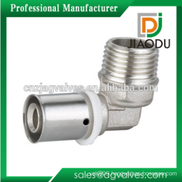 Nickel Plated Male Elbow Brass Press Fittings For PEX-AL-PEX Pipe