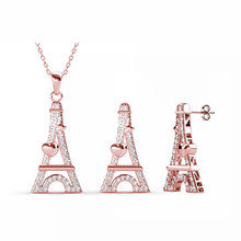 Fashion Tower Design Pendant and Earrings Set with High Quality Crystals