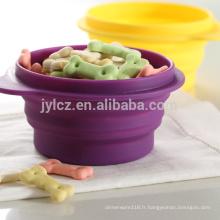 bol pliable de nourriture pour animaux de compagnie de silicone pour l'usage extérieur