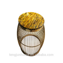 CANOSA yellow tiger eye with golden stainless steel coffee table