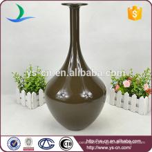 Chinese Style Brown Ceramic Flower Vase For Decor