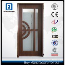 Porta de aço do projeto de vidro de alumínio da porta com vidro moderado e caming decorativo dentro