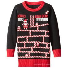 PK18ST061 Game camisola de Natal feia pescoço Santa tripulação para adultos