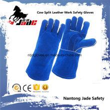 Luva de trabalho de soldagem de segurança industrial de pele de couro azul