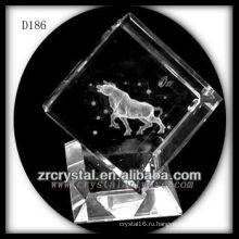 K9 3D лазерная Bull внутри кристалла куба