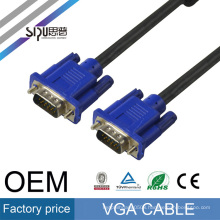 SIPU 15 pin VGA 3+6 male to VGA male round cable made in China