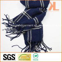 100% акриловый модный флот проверенный сплетенный шарф с Fringe