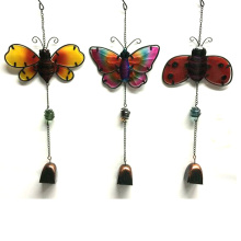 Popular Hanging Garden Decoration Metal Wind Bell with Stained Glass