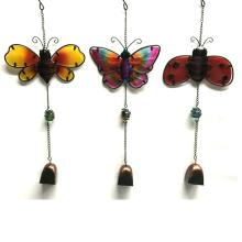 Beliebte hängende Gartendekoration Metall Wind Bell mit Glasmalerei