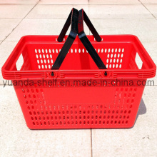 Colorful Supermarket Plastic Double Handle Shopping Basket