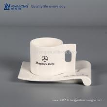 210ml Nom de conception personnalisée Tasse à café et soucoupe personnalisés, coupe céramique fine avec support de biscuit