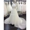 High Quality Scoop Neckline Appliqued Short Sleeves See Through Back Vestidos de Noiva Muslim Hijab Wedding Dresses 2015 A041