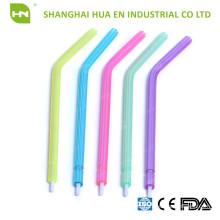 Air-water Syringe Tips with colorful clear plastic tube and white plastic core