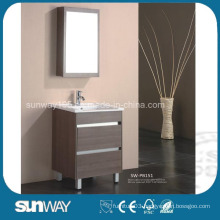 Floor Standing Melamine Bathroom Furniture with Mirror Cabinet