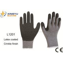 10г Т/с Шелл crinkle латекса безопасности работы перчатка (L1201)