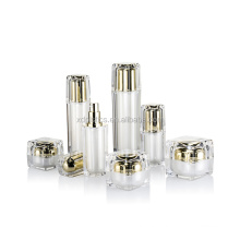 1oz 2oz square white and gold plastic container cosmetic pump lotion spray acrylic bottle and cream jar skin care packaging