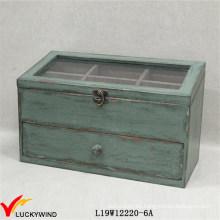 Caja de joyería verde envejecida con compartimientos