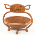 cesta decorativa de comida de bambú