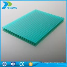 Protection UV de haute qualité double paroi 4mm polycarbonate creux carport lucarne toit tôle compacte