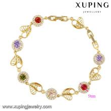 74261-Fashion Colorful CZ Diamond imitación joyería de la mujer pulsera en cobre ambiental