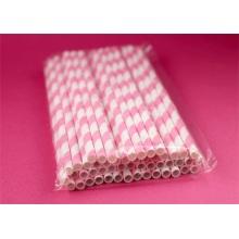 Custom pink and white paper straws