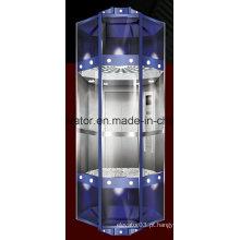 Elevador panorâmico de forma de diamante com cabine de cápsula