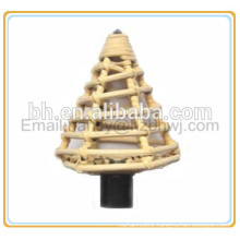 rattan curtain rod finial,cane curtain pole terminal,cane curtain rod finial
