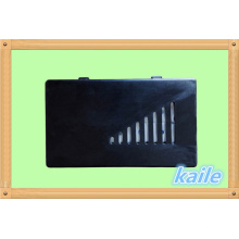 Double domino de peinture colorée avec boîte en plastique noir