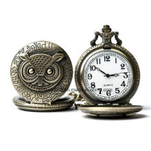 Vinage Quartz Owl Pocket Watch with Chain