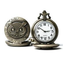 Relógio de Bolso Vinage Quartz Owl com Corrente