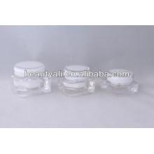 Frasco de cosmético acrílico transparente quadrado 15ml 30ml 50ml 75ml 125ml