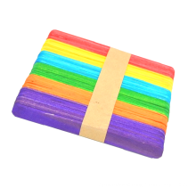 Wholesale 114mm Colorful craft ice cream stick Wooden Popsicle Sticks For Children DIY