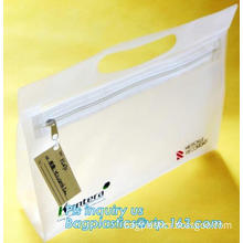 promotional zipper top biodegradable PVC plastic stand up pouch bag for cosmetic sets, frosted vinyl pvc slider zipper plastic p