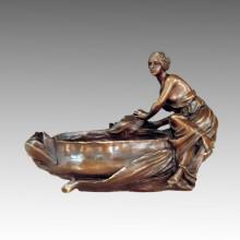 Vase Statue Flower-Lady Bronze Ashtray Sculpture, Milo TPE-518