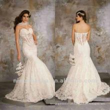Sexy Lace Sweetheart Applique Sereia Capela Trem Vestido de Noiva vestido de noiva