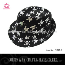 Baumwollpinsel Fedora Hüte mit Mode Schädeldruck für Party Hüte Werbegeschenk