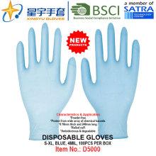 Синий цвет, одноразовые нитриловые перчатки без порошка, 100 / коробка (S, M, L, XL) с CE. Перчатки экзамена