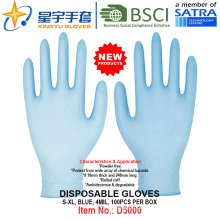 Blaue Farbe, Puderfrei, Einweg-Nitrilhandschuhe, 100 / Box (S, M, L, XL) mit CE. Exam Handschuhe