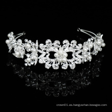 Joyas para el cabello hechas a mano de plata Noble Bling Crystal Pearl Diademas nupciales Tocados de boda Joyas para mujer