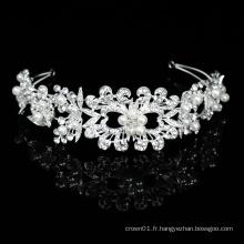 Bijoux de cheveux faits à la main en argent Noble Bling cristal perle de mariée bandeaux de mariage coiffes bijoux femme