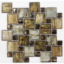 Mosaico de vidrio cristalino de mezcla marrón