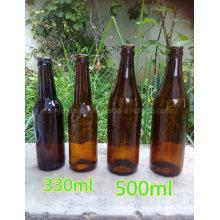 Botella de vino de frutas de vidrio botella de cerveza de moda con tapa de corona
