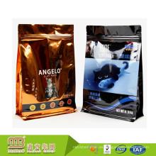 Bolsas de cremallera planas inferiores plásticas laminadas brillantes del papel de aluminio 500g comida del animal doméstico