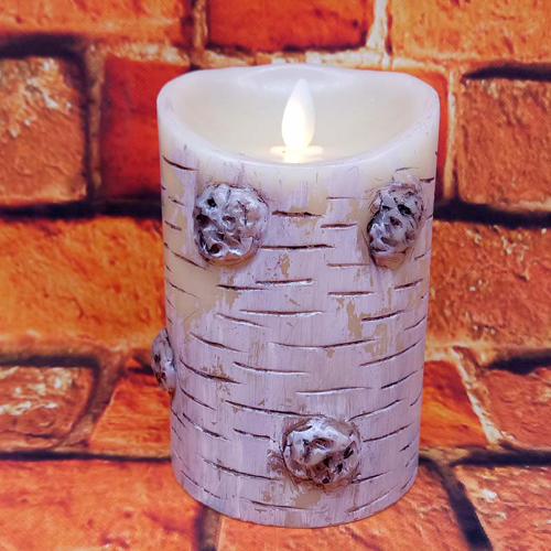 birch bark moving wick led candle